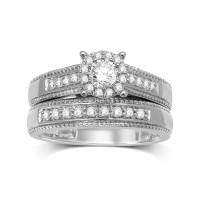 Womens 5/8 CT. T.W. Genuine Diamond 14K Gold Round Bridal Set