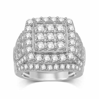 Modern Bride Signature Womens Genuine Diamond 10K Gold Round Engagement Ring