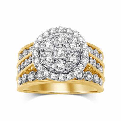 Womens 1 CT. T.W. Genuine Diamond 10K Gold Round Engagement Ring