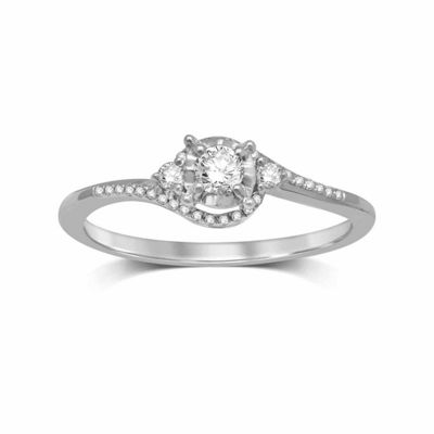 Promise My Love Womens 1/5 CT. T.W. Genuine Diamond 10K Gold Promise Ring