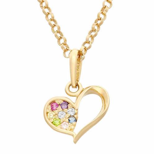 Girls Multi Color Cubic Zirconia 14K Gold Pendant Necklace