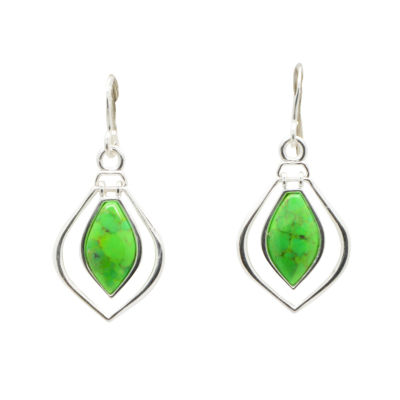 Silver Elements By Barse Lab Created Green Turquoise Sterling Silver Drop Earrings