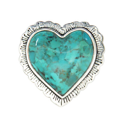 Silver Elements by Barse Womens Lab Created Blue Turquoise Sterling Silver Heart Cocktail Ring