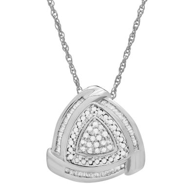 Womens 1/4 CT. T.W. Genuine White Diamond Sterling Silver Triangle Pendant Necklace
