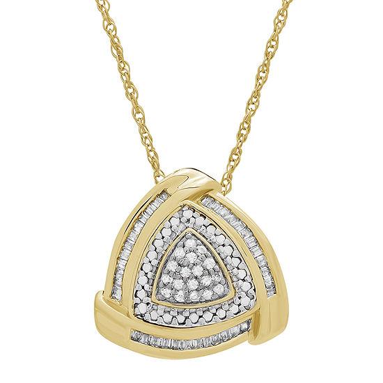Womens 1/4 CT. T.W. Genuine White Diamond 14K Gold Over Silver Triangle Pendant Necklace