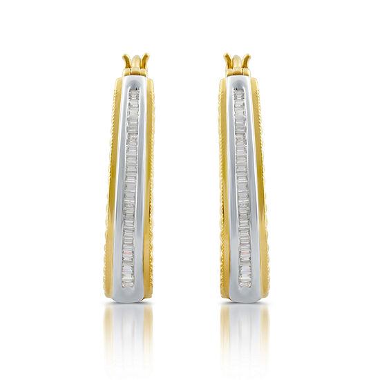 1/2 CT. T.W. White Diamond 14K Gold Over Silver Hoop Earrings
