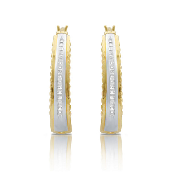 1/4 CT. T.W. White Diamond 14K Gold Over Silver Hoop Earrings