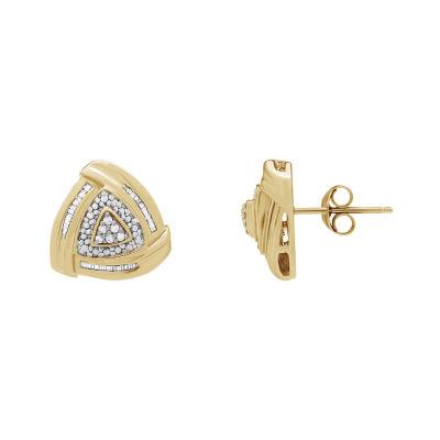 1/4 CT. T.W. Genuine White Diamond Triangle Stud Earrings
