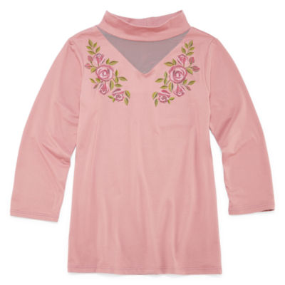 Insta Girl Gigi Neck 3/4 Sleeve with Floral Graphic- Girls' 7-16