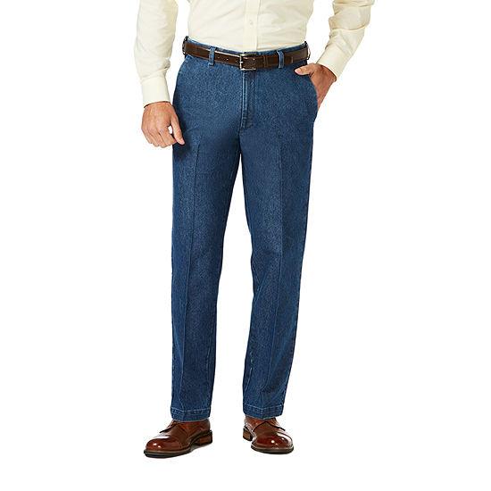 Haggar Premium Stretch Denim Classic Fit Flat Front Pants
