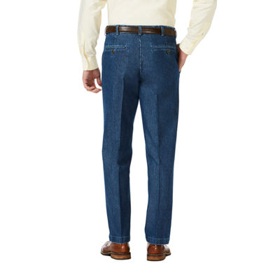 Haggar Premium Stretch Denim Classic Fit Flat Front Pants