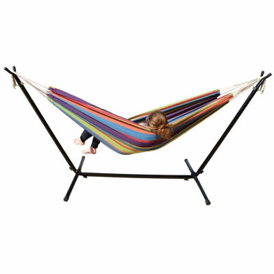 Mano Patio Hammock with Stand-Tropical stripes