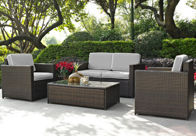 Palm Harbor 4-pc. Wicker Conversation Set With Cushions - Loveseat, Chairs and Glass Top Table