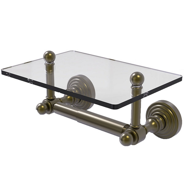 Allied Brass Waverly Place Collection Two Post Toilet Tissue Holder with Glass Shelf