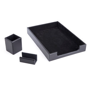 Royce Leather Luxury Genuine Leather 3-pc. Desk Set: Pen Cup Organizer, Letter Tray and Business Card Holder