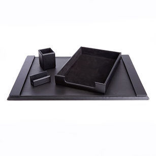 Royce Leather Luxury Genuine Leather 4-pc. Desk Set: Pen Cup Organizer, Letter Tray, Blotter and Business Card Holder