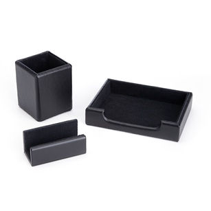 Royce Leather Luxury Genuine Leather 3-pc. Desk Set: Pen Cup Organizer, Note Tray and Business Card Holder