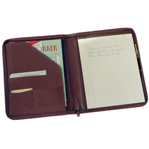 Royce Leather Zip Around Writing Padfolio in Top Grain Nappa Leather