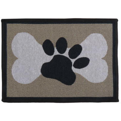 """P. B. Paws by Park B. Smith® 13"""" x 19"""" Paw and Bone Pet Mat"""