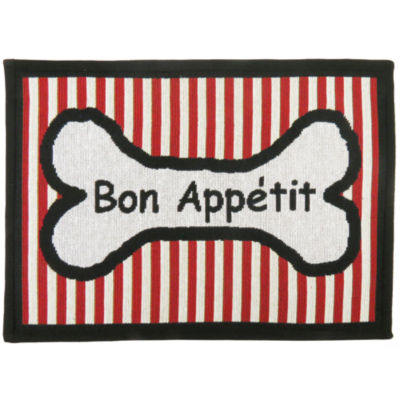 "P. B. Paws by Park B. Smith® 13"" x 19"" Bone Appetit Stripe Pet Mat"