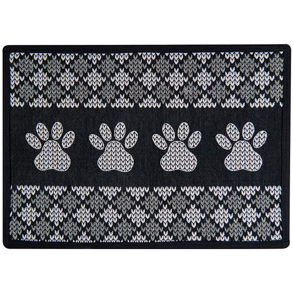 "P. B. Paws by Park B. Smith® 13"" x 19"" Knit Paw Border Pet Mat"