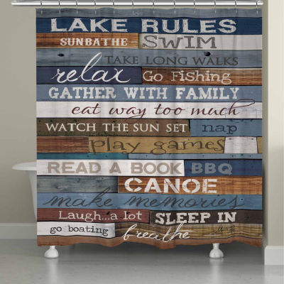 Laural Home Lake Rules Shower Curtain