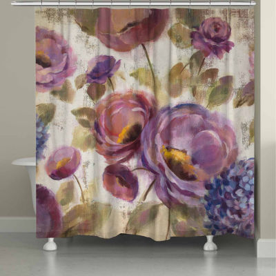 Laural Home Purple Floral Garden Shower Curtain