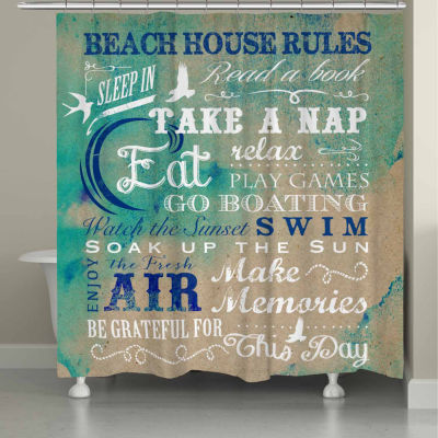 Laural Home Beach Rules Shower Curtain