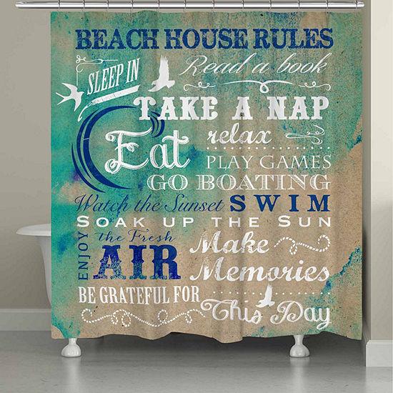 Laural Home Beach Rules Shower Curtain