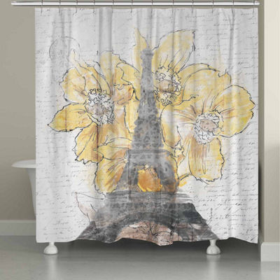 Laural Home Daffodil Blooms Eiffel Tower Shower Curtain