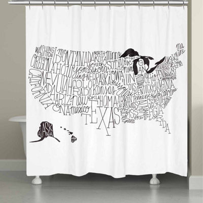 Laural Home Hand Lettered Map Black And White Shower Curtain