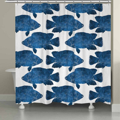 Laural Home Indigo Fish Shower Curtain