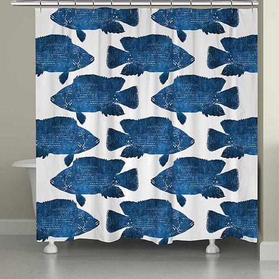 Laural Home Indigo Fish Shower Curtain