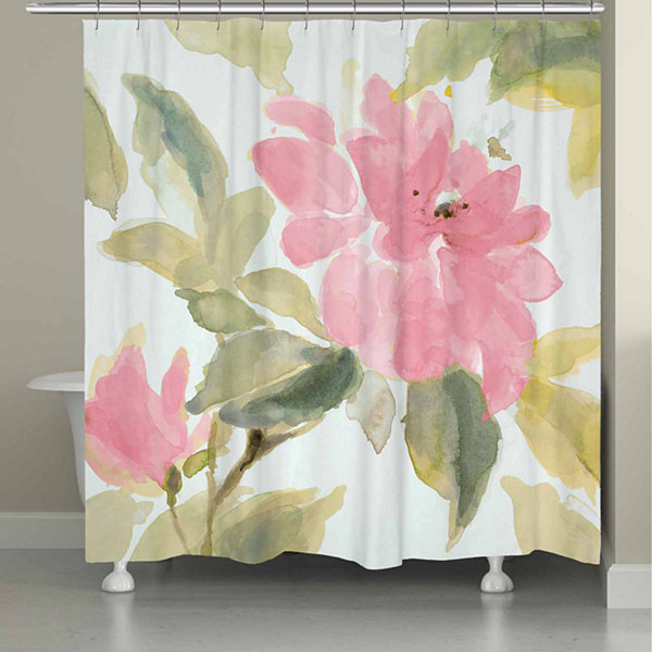 Laural Home Pink Blooms Shower Curtain