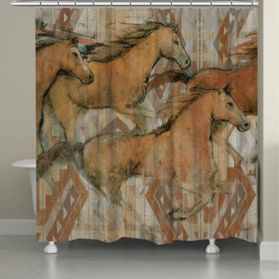 Laural Home Southwestern Horses Shower Curtain