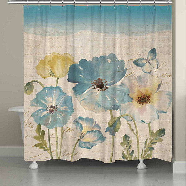 Laural Home Teal Watercolor Poppies Shower Curtain