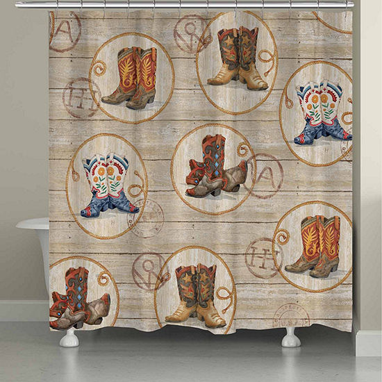 Laural Home Western Boots Shower Curtain