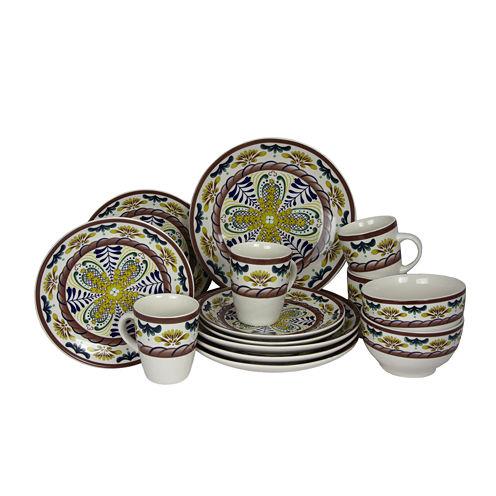 Elama Countryside Sunrise 16-pc. Stoneware Dinnerware Set