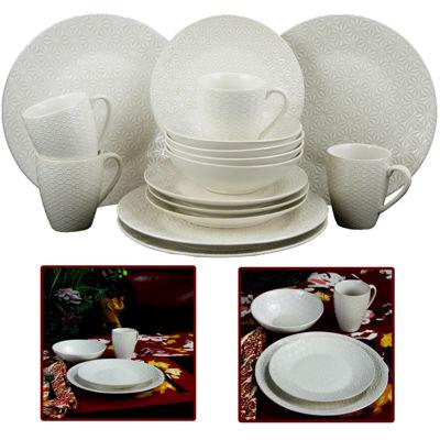 Elama Ivory Terrace 16-pc. Textured Dinnerware Set