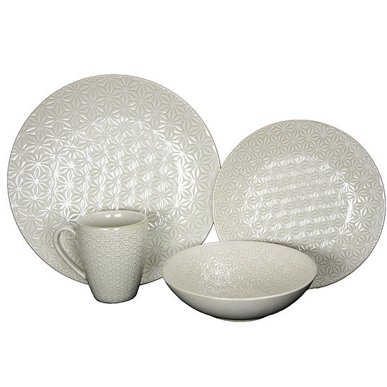 Elama Ivory Terrace 4-pc. Textured Dinnerware Set