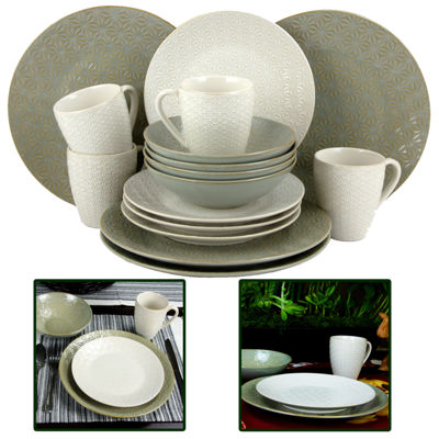 Elama Olive Terrace 16-pc. Textured Dinnerware Set