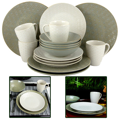 Elama Olive Terrace 16-pc. Textured Dinnerware Set