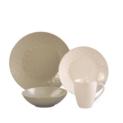 Elama Olive Terrace Signature Texture 4-pc. Dinnerware Set
