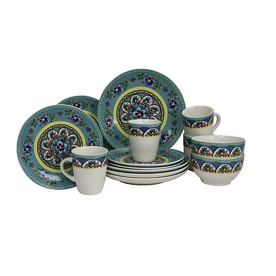Elama Santa Fe Springs 16-pc. Stoneware Dinnerware Set