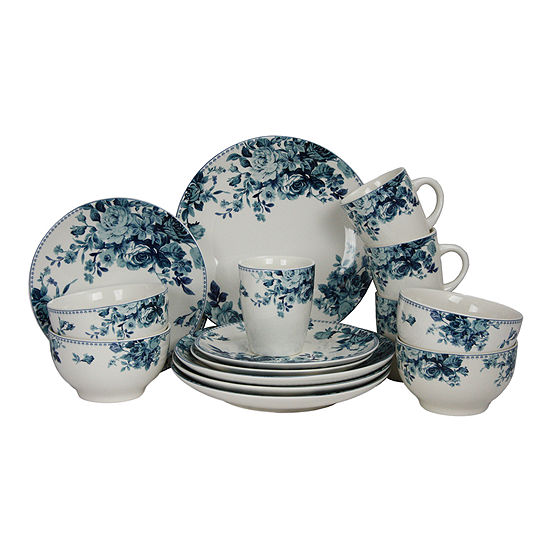 Elama Traditional Blue Rose 16-pc. Dinnerware Set