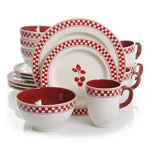 Gibson General Store 16-pc. Cherry Diner Ceramic Dinnerware  Set