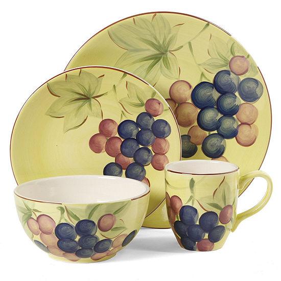 Gibson Home Fruitful Harvest Grapes 16-pc. Dinnerware Set