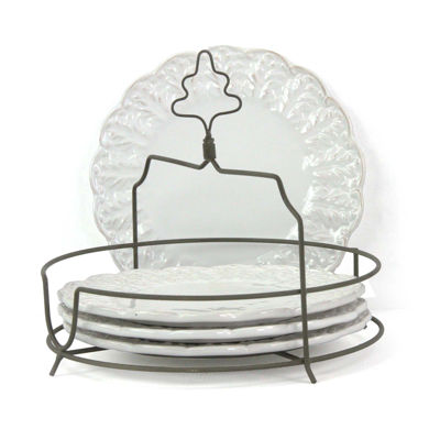 Isaac Mizrahi Chateau Fleur 4-pc. Plate Set with Metal Stand
