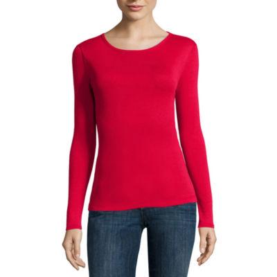 Liz Claiborne Long Sleeve Crew Neck T Shirt Womens JCPenney e5541ee3b