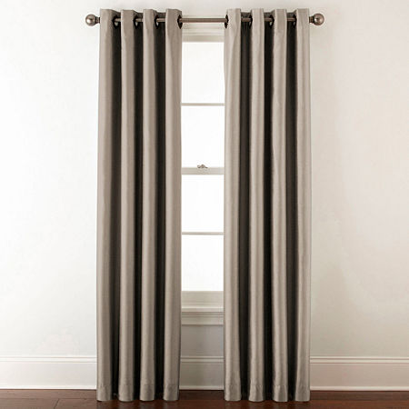 JCPenney Home Plaza Blackout Grommet-Top Single Curtain Panel, One Size , Gray